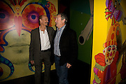 ALAN ALDRIDGE; NICK MASON, Exhibition opening ' Alan Aldridge- The Man With Kaleidoscope Eyes' hosted by his daughter Saffron Aldridge. Design Museum. Shad Thames. London  SE1. *** Local Caption *** -DO NOT ARCHIVE -Copyright Photograph by Dafydd Jones. 248 Clapham Rd. London SW9 0PZ. Tel 0207 820 0771. www.dafjones.com
