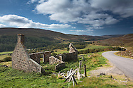 Old ruined crofters cottage on the roadside near Corgarff, Scottish Highlands, Uk