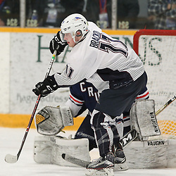 DRYDEN, ON - MAY 2: Jacen Bracko #11 of the Dryden GM Ice Dogs in the crease in the third period during Game Four of the Central Canadian Junior Championship during the 2018 Dudley Hewitt Cup on May 2, 2018 at the Dryden Memorial Arena in Dryden, Ontario, Canada. (Photo by Tim Bates/DHC via OJHL Images)