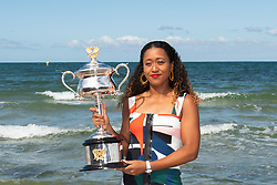 BEIJING, Jan. 28, 2019  Naomi Osaka of Japan poses with the Daphne Akhurst Memorial Cup following her victory in the women's singles final at the Australian Open tennis championships at the Brighton Beach in Melbourne, Australia on Jan. 27, 2019. (Credit Image: © Elizabeth Xue Bai/Xinhua via ZUMA Wire)
