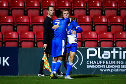 Kieran Phillips of Bristol Rovers celebrates with teammates after scoring a goal to make it 2-1 - Mandatory by-line: Robbie Stephenson/JMP - 29/10/2019 - FOOTBALL - County Ground - Swindon, England - Swindon Town v Bristol Rovers - FA Youth Cup Round One