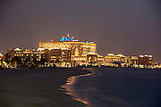 Night view of Emirates Palace Hotel. 7 Star luxury, state-owned and managed by Kempinski.
