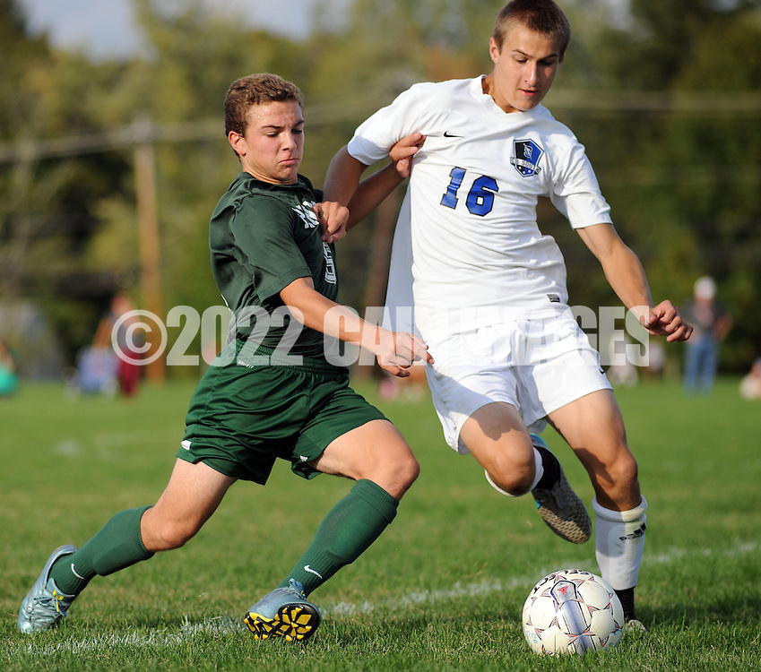 SSOUTH09<br /> Pennridge's Matt Stevenson #6 tries to kick the soccer ball away from Central Bucks South's Kevin Bentsen #16 in the second half Thursday October 8, 2015 at Central Bucks South in Warrington, Pennsylvania. (William Thomas Cain/For The Inquirer)