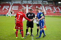 WREXHAM, WALES - Monday, May 2, 2016: The New Saints' goalkeeper Paul Harrison and Airbus UK Broughton's captain Ian Kearney with referee Bryn Markham Jones before the 129th Welsh Cup Final at the Racecourse Ground. (Pic by David Rawcliffe/Propaganda)