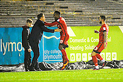 Gavin Massey (11) of Leyton Orient  celebrates scoring the equalising goal with Leyton Orient manger Danny Webb ,to make the score 1-1 during the EFL Sky Bet League 2 match between Plymouth Argyle and Leyton Orient at Home Park, Plymouth, England on 14 February 2017. Photo by Graham Hunt.