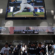 A giant image of Derek Jeter in the stadium entrance during the New York Yankees Vs Toronto Blue Jays season opening day at Yankee Stadium, The Bronx, New York. 6th April 2015. Photo Tim Clayton