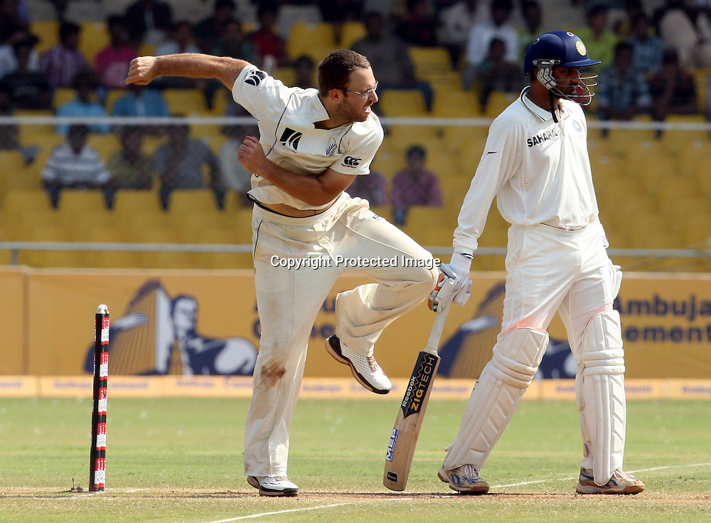 New Zealand Captain Daniel Vettori In Boiwling Action During The 1st Test India vs New Zealand Played at Sardar Patel Stadium, Motera, Ahmedabad<br /> ,8 November 2010 (5-day match)