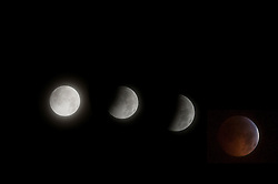© under license to London News Pictures.  The phases of the moon through the lunar eclipse as seen from New Paltz, New York, USA. Photo credit should read Michael Graae/London News Pictures