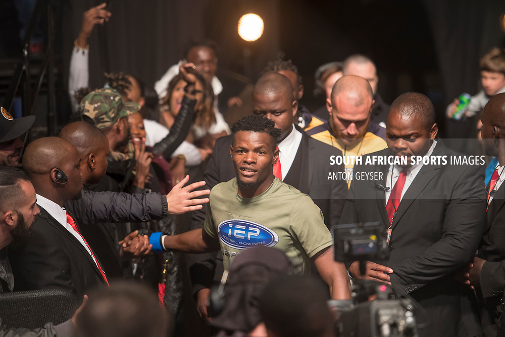 JOHANNESBURG, SOUTH AFRICA - MAY 13: Alain Ilunga enters the arena during EFC 59 Fight Night at Carnival City on May 13, 2017 in Johannesburg, South Africa. (Photo by Anton Geyser/EFC Worldwide/Gallo Images)