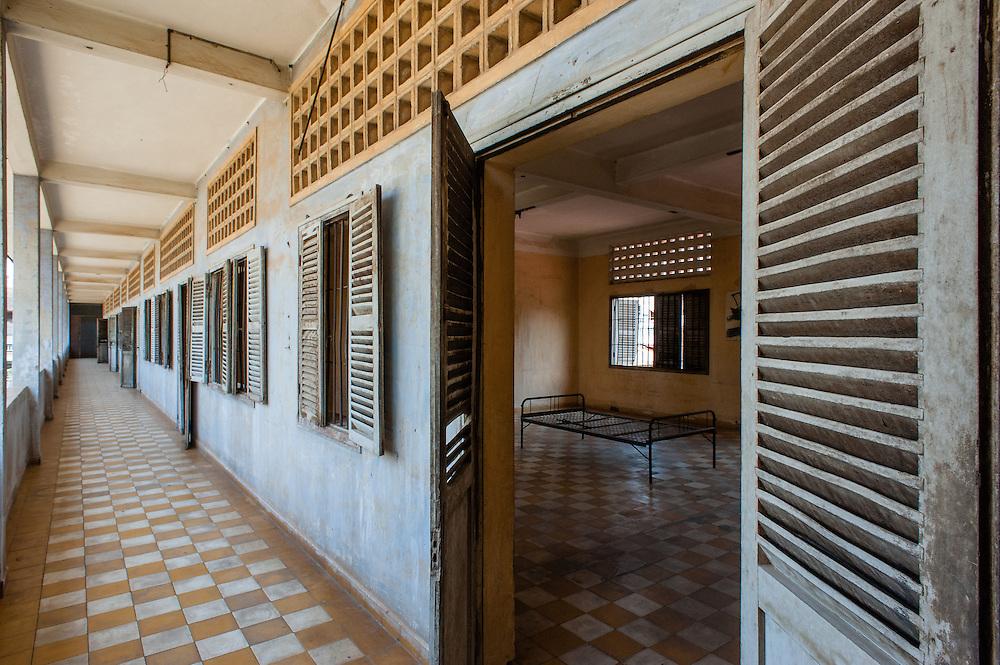 Corridor at Tuol Sleng Khmer Rouge Prison in Phnom Penh (Cambodia).