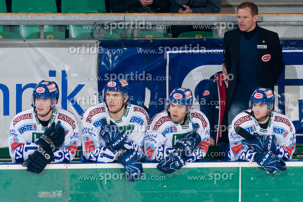 Bench of EC Rekord-Fenster VSV during ice-hockey match between HDD Tilia Olimpija and EC Rekord-Fenster VSV in 31st Round of EBEL league, on December 28, 2010 at Hala Tivoli, Ljubljana, Slovenia. (Photo By Matic Klansek Velej / Sportida.com)