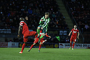 Dannie Bulman of AFC Wimbledon and Jean-Yves M'voto of Leyton Orient during Sky Bet League 2 match between Leyton Orient and AFC Wimbledon at the Matchroom Stadium, London, England on 28 November 2015. Photo by Stuart Butcher.