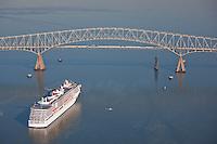 Cruise Ship Carnival Pride at Baltimore Key Bridge