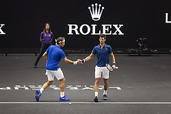 September 21, 2018 - Chicago, Illinois, U.S - Team Europe member ROGER FEDERER of Switzerland celebrates with his partner NOVAK DJOKOVIC of Serbia during the first doubles match on Day One of the Laver Cup at the United Center in Chicago, Illinois. (Credit Image: © Shelley Lipton/ZUMA Wire)