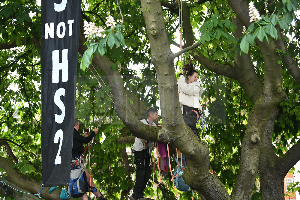 © Licensed to London News Pictures. 04/05/2020. London, UK.Members of environmental protest group Extinction Rebellion in trees outside Euston Station in London, to protest against the building of the HS2 rail project. The group have targeted HS2 sites across London. Photo credit: Ben Cawthra/LNP