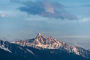 Mission Mountain peaks covered with snow