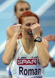 Third placed Sonja Roman of Slovenia at the final race of 1500m women at the 2nd day of  European Athletics Indoor Championships Torino 2009 (6th - 8th March), at Oval Lingotto Stadium,  Torino, Italy, on March 6, 2009. (Photo by Vid Ponikvar / Sportida)