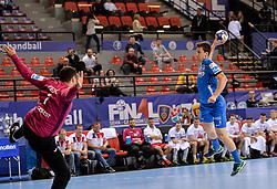 David Razgor of Celje PL during handball match between Meshkov Brest and RK Celje Pivovarna Lasko in bronze medal match of SEHA- Gazprom League Final 4, on April 15, 2018 in Skopje, Macedonia. Photo by  Sportida