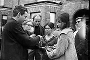 """Bloomsday. Plaque unveiled at James Joyce's birthplace, 41 Brighton Square. Actresses Caroline Fitzgerald, Fionnuala O'Shannon and Brita Strong, all starring in """"Bloomsday"""" at the Gate Theatre, share a smoke with actors Patrick Bedford and Dick Butterworth..16.06.1964"""