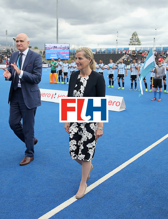 LONDON, ENGLAND - JUNE 25:  Sophie, Countess of Wessex meets players during the final match between Argentina and the Netherlands on day nine of the Hero Hockey World League Semi-Final at Lee Valley Hockey and Tennis Centre on June 25, 2017 in London, England.  (Photo by Alex Morton/Getty Images)