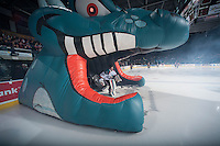 KELOWNA, CANADA - JANUARY 10: Jake Morrissey #31 of Kelowna Rockets enters the  ice against the Medicine Hat Tigers on January 10, 2015 at Prospera Place in Kelowna, British Columbia, Canada.  (Photo by Marissa Baecker/Shoot the Breeze)  *** Local Caption *** Jake Morrissey;