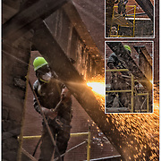 Oxy-fue blowtorchl welding (commonly called oxyacetylene welding, oxy welding, or gas welding and oxy-fuel cutting are processes that use fuel gases and oxygen to weld and cut metals, in this case steel beams in demolition of site for new building.