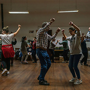 Memebers of a folvloric dance group in Covas dp Barroso rehearse for an upcoming presentention and the village's communal hall