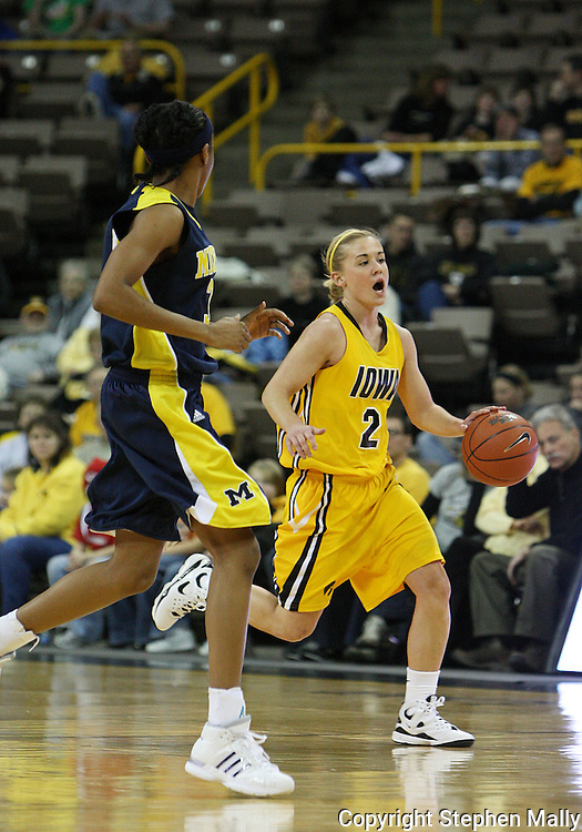 26 JANUARY 2009: Iowa guard Kamille Wahlin (2) brings the ball down court during the first half of an NCAA women's college basketball game Monday, Jan. 26, 2009, at Carver-Hawkeye Arena in Iowa City, Iowa. Iowa defeated Michigan 77-69.