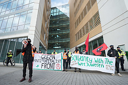 © Licensed to London News Pictures; 13/03/2020; Bristol Climate Action protest around the centre of Bristol, targeting what the campaign says are corporations engaging in massive environmental destruction. Pictured outside the offices of legal firm Burges Salmon who they say defend fracking companies in court. Photo credit: Simon Chapman/LNP.