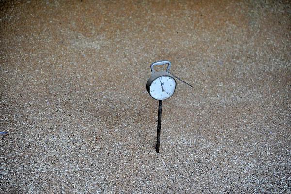 Nederland, Kekerdom, 7-9-2012Bij een landbouwbedrijf ligt de graanoogst in een schuur af te koelen. In de berg tarwe steekt een thermometer die het broeien meet.