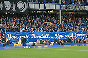 Sign held up by Everton fans before the match remembering Howard Kendall before the Premier League match between Everton and West Ham United at Goodison Park, Liverpool, England on 30 October 2016. Photo by Mark P Doherty.