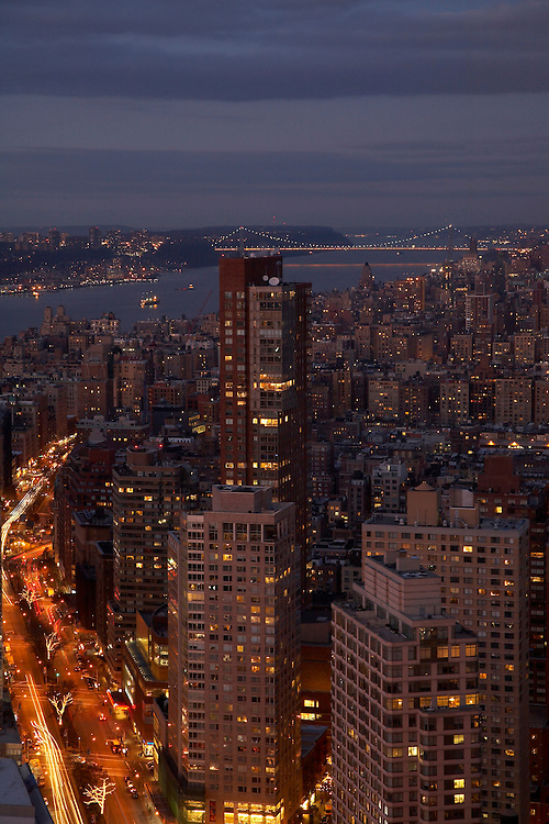 Night view north from 80 Columbus Circle, 73th floor with views of George Washington Bridge and Hudson River