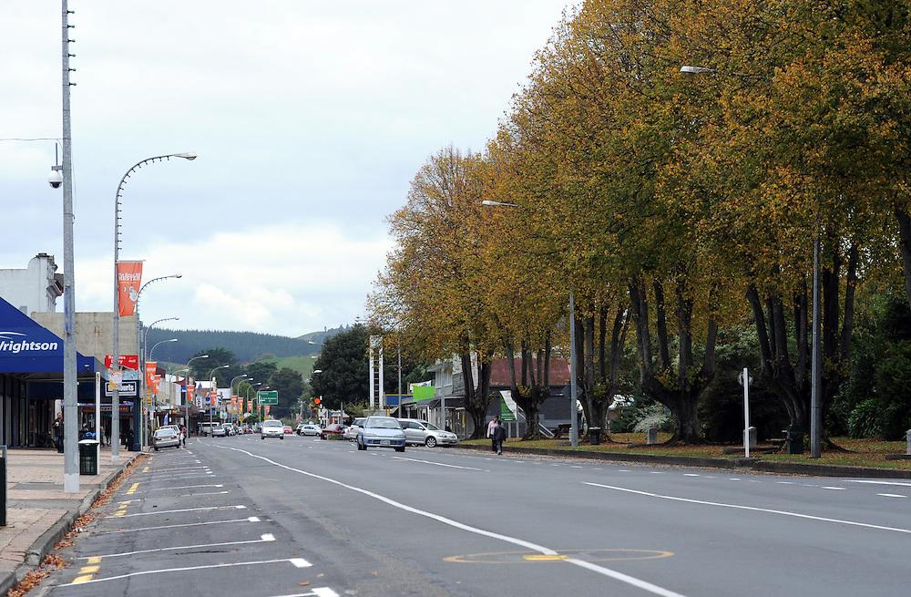 Main shopping street, SH1, Te Kuiti, New Zealand, Sunday, April 29, 2012. Credit:SNPA / Ross Setford