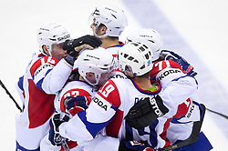 Players of Slovenia celebrate during ice-hockey match between Russia and Slovenia of Group A of IIHF 2011 World Championship Slovakia, on May 1, 2011 in Orange Arena, Bratislava, Slovakia. Russia defeated Slovenia 6-4. (Photo By Vid Ponikvar / Sportida.com)