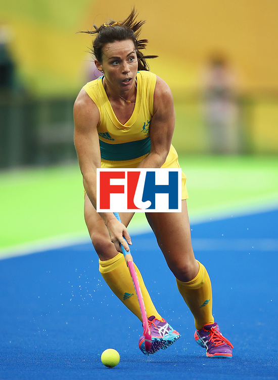 RIO DE JANEIRO, BRAZIL - AUGUST 10:  Georgie Parker of Australia in action during the Women's Pool B Match between India and Australia on Day 5 of the Rio 2016 Olympic Games at the Olympic Hockey Centre on August 10, 2016 in Rio de Janeiro, Brazil.  (Photo by Mark Kolbe/Getty Images)