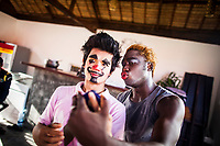 Members of the Phare Circus put on makeup before a performance in Siem Reap, Cambodia.