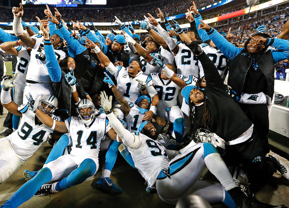 CHARLOTTE, NC - JAN 24:  Members of the Carolina Panthers pose for a team picture during the NFC Championship game against the Arizona Cardinals at Bank of America Stadium on January 24, 2016 in Charlotte, North Carolina.