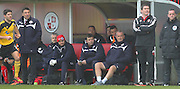 Crawley's Manager Dean Saunders left an Sheffield United Manager Nigel Clough during the Sky Bet League 1 match between Crawley Town and Sheffield Utd at the Checkatrade.com Stadium, Crawley, England on 28 February 2015. Photo by Phil Duncan.