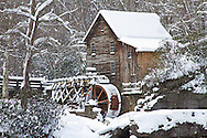 67395-04311 Glade Creek Grist Mill in winter, Babcock State Park, WV