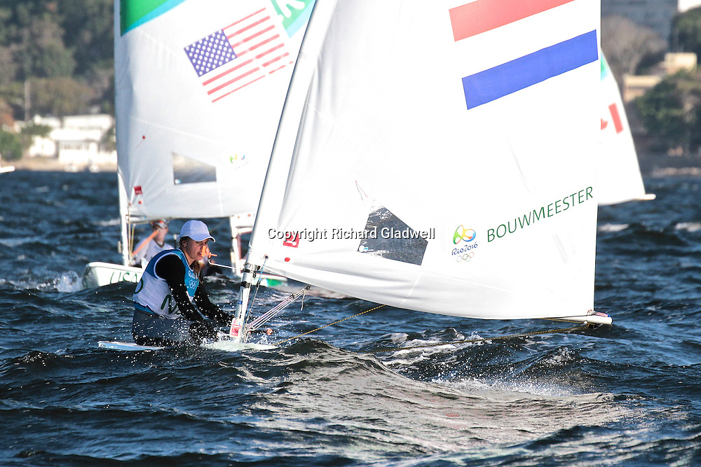 Marie Boumeesster (NED) overall leader - Laser Radial - Day 6, 2016 Olympic regatta.<br /> Rio 2016 Olympics, Rio de Janero, Brazil. Olympic Sailing Day 6, 13 August 2016.<br /> Photo credit: Richard Gladwell / www.photosport.nz