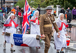 © Licensed to London News Pictures. 23/09/2018. Bristol, UK. The Royal British Legion dressed as a First World War medical team at The Simplyhealth Great Bristol Half Marathon 2018. Runners compete in the rain on the autumn equinox, the first day of astronomical autumn. Photo credit: Simon Chapman/LNP