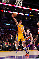 12 February 2013: Guard (10) Steve Nash of the Los Angeles Lakers lays the ball up against the Phoenix Suns during the first half of the Lakers 91-85 victory over the Suns at the STAPLES Center in Los Angeles, CA.