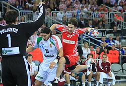 Ivan Cupic (27) of Croatia vs Goalkeeper of Hungary Nenad Puljezevic during 21st Men's World Handball Championship 2009 Main round Group I match between National teams of Croatia and Hungary, on January 24, 2009, in Arena Zagreb, Zagreb, Croatia.  (Photo by Vid Ponikvar / Sportida)
