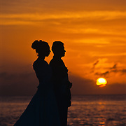 Wedding couple at sunset. Cozumel, Quintana Roo. Mexico.