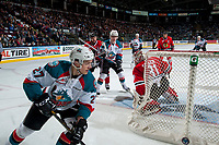 KELOWNA, CANADA - APRIL 8: Keoni Texeira #44 of the Portland Winterhawks checks Kole Lind #16 of the Kelowna Rockets during first period on April 8, 2017 at Prospera Place in Kelowna, British Columbia, Canada.  (Photo by Marissa Baecker/Shoot the Breeze)  *** Local Caption ***