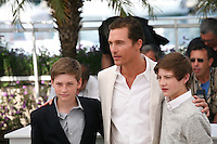Actor Matthew McConaughey with Tye Sheridan and Jacob Lofland at the Mud photocall at the 65th Cannes Film Festival France. Saturday 26th May 2012 in Cannes Film Festival, France.