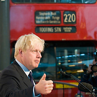 Mayor Announces Competition For New Routemaster Bus.LONDON - JULY 04: Mayor of London Boris Johnson announces a design competition for a new London Routemaster bus at the London Transport Museum on July 4, 2008 in London, England. New designers can enter a design, by September 19 2008 , for a specific part of a bus or an entire bus in an effort to create a stylish bus for the streets of London