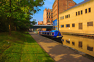 A narrow boat as it sets off along the Nottingham-Beeston canal.