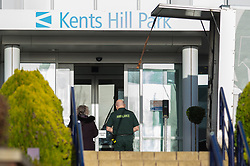 © Licensed to London News Pictures. 08/02/2020. Milton Keynes, UK. A paramedic enters the reception area at the Kents Hill Park Training and Conference Centre. A Milton Keynes conference centre is to house evacuees from the Chinese city of Wuhan, the epicentre of the Novel Coronavirus (2019-nCoV) outbreak, the British citizens are due to be flown back on Sunday 9th February and are expected to land at RAF Brize Norton in Oxfordshire and will remain at the conference centre for 14 days to be monitored. Photo credit: Peter Manning/LNP