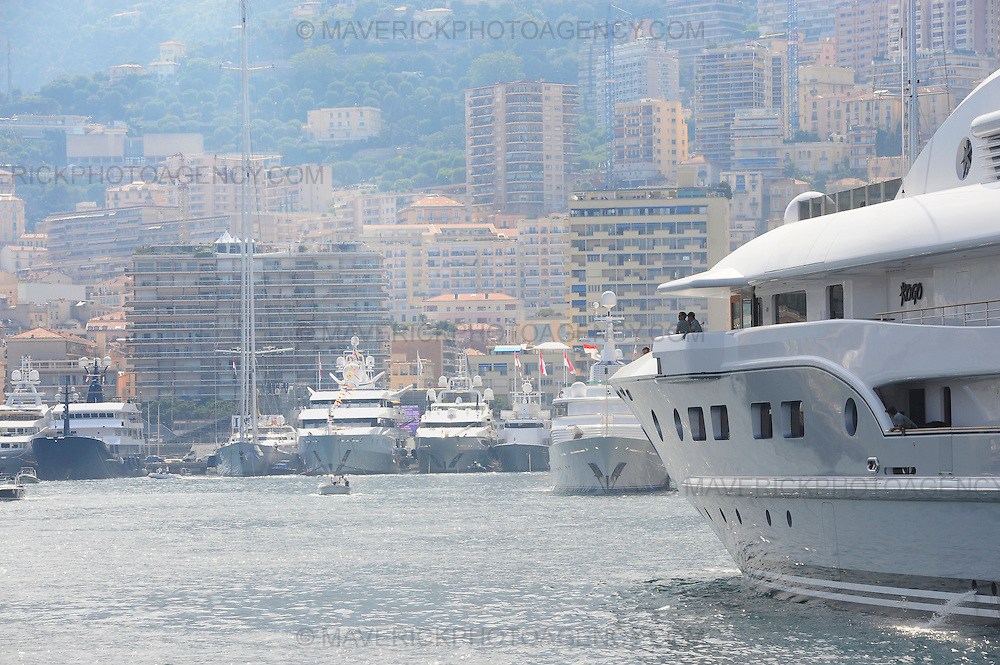 General View of a superyacht entering the harbour at Monaco.
